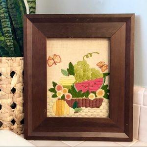 Vintage crewel art embroidery fruit basket
